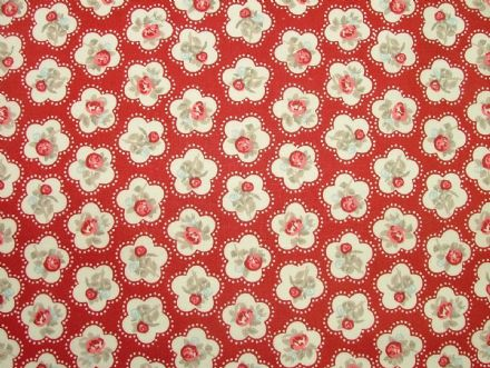 Dainty Flowers, Red, 100% Cotton Curtain / Soft Furnishing / Dressmaking Fabric